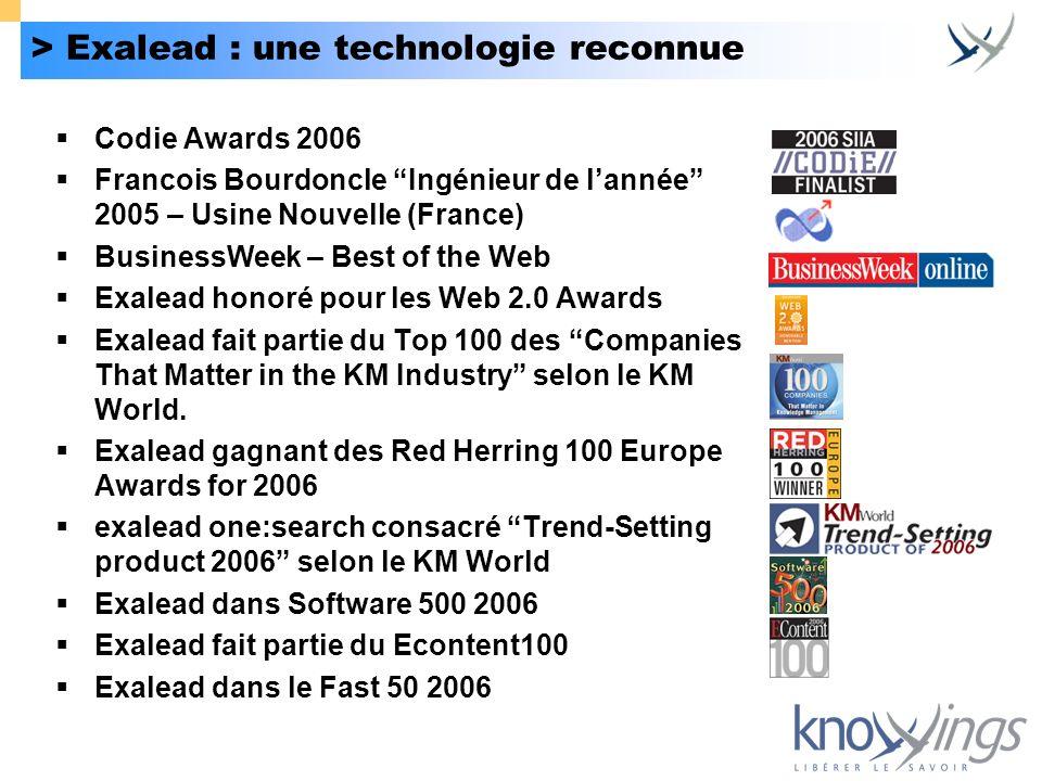> Exalead : une technologie reconnue Codie Awards 2006 Francois Bourdoncle Ingénieur de lannée 2005 – Usine Nouvelle (France) BusinessWeek – Best of t
