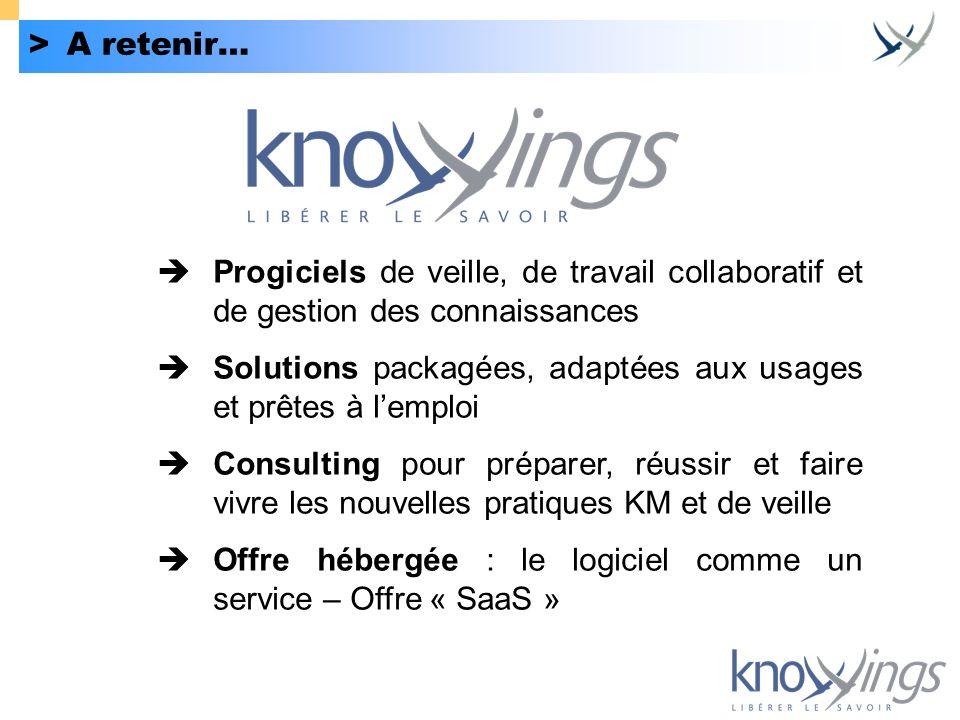 >A retenir… Progiciels de veille, de travail collaboratif et de gestion des connaissances Solutions packagées, adaptées aux usages et prêtes à lemploi