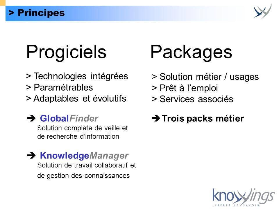 > Principes ProgicielsPackages > Technologies intégrées > Paramétrables > Adaptables et évolutifs GlobalFinder Solution complète de veille et de reche