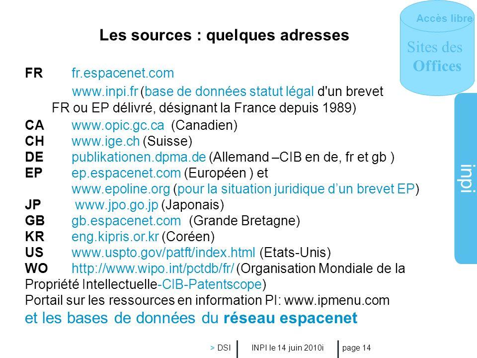 inpi INPI le 14 juin 2010i > DSI page 14 Les sources : quelques adresses FR fr.espacenet.com www.inpi.fr (base de données statut légal d'un brevet FR
