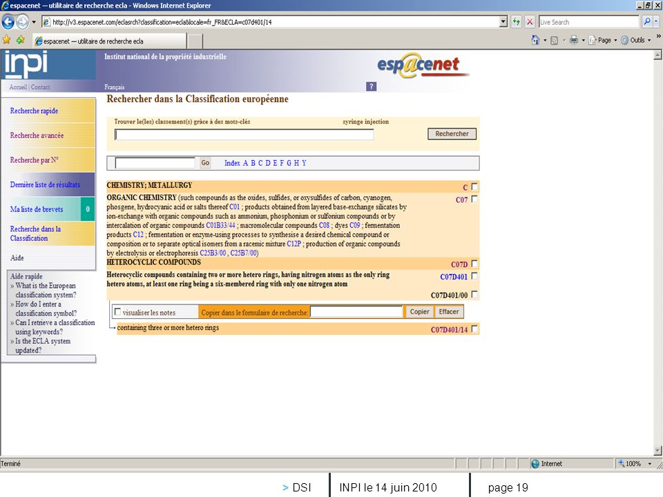 inpi INPI le 14 juin 2010 > DSI page 19