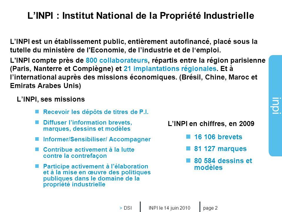 inpi LINPI : Institut National de la Propriété Industrielle LINPI, ses missions Recevoir les dépôts de titres de P.I. Diffuser linformation brevets, m