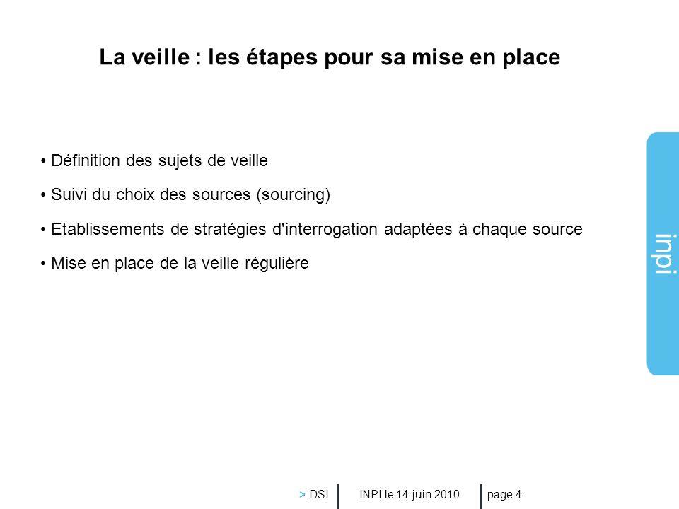 inpi INPI le 14 juin 2010 > DSI page 4 La veille : les étapes pour sa mise en place Définition des sujets de veille Suivi du choix des sources (sourci