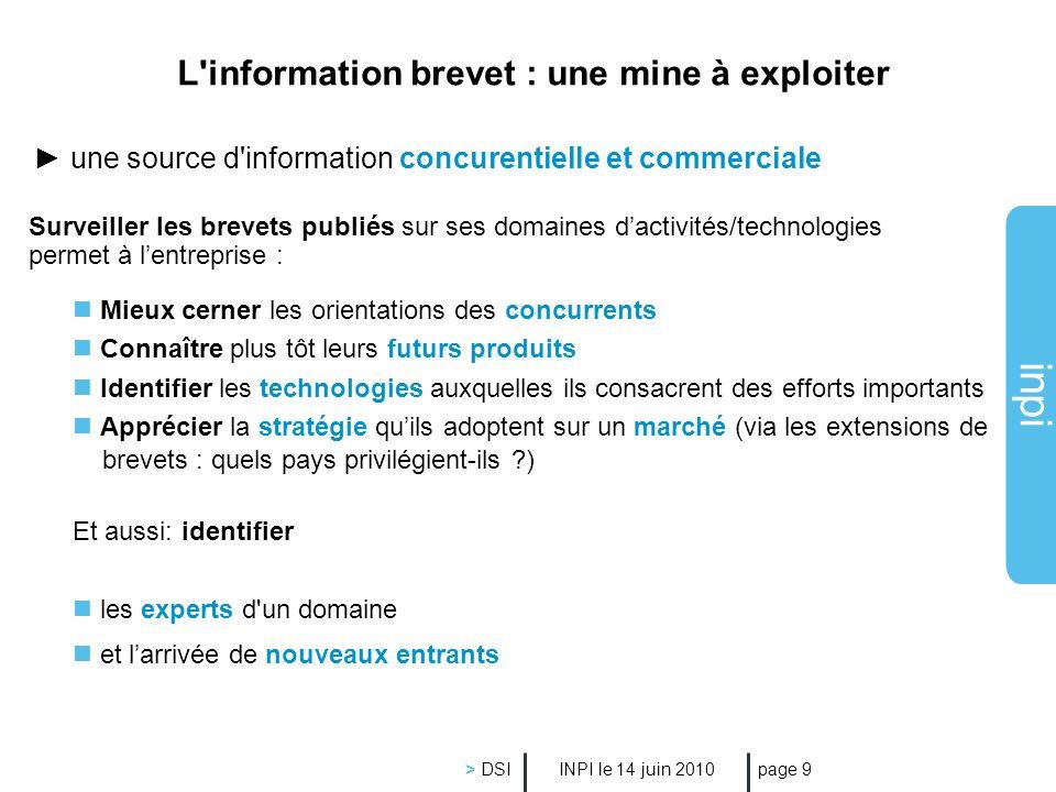 inpi INPI le 14 juin 2010 > DSI page 9 une source d'information concurentielle et commerciale Surveiller les brevets publiés sur ses domaines dactivit