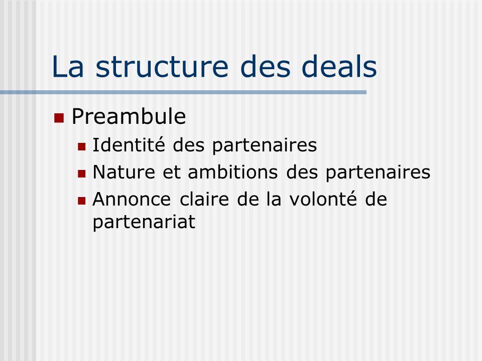 La structure des deals Preambule Identité des partenaires Nature et ambitions des partenaires Annonce claire de la volonté de partenariat