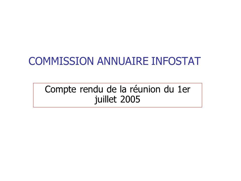 COMMISSION ANNUAIRE INFOSTAT Compte rendu de la réunion du 1er juillet 2005