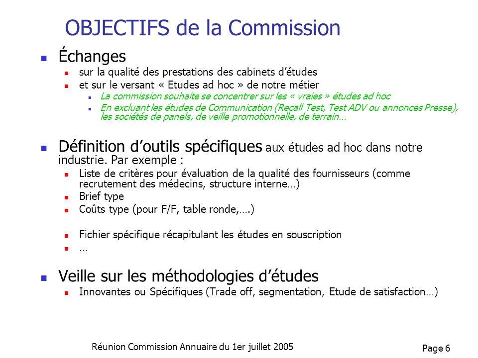 Page 6 Réunion Commission Annuaire du 1er juillet 2005 OBJECTIFS de la Commission Échanges sur la qualité des prestations des cabinets détudes et sur