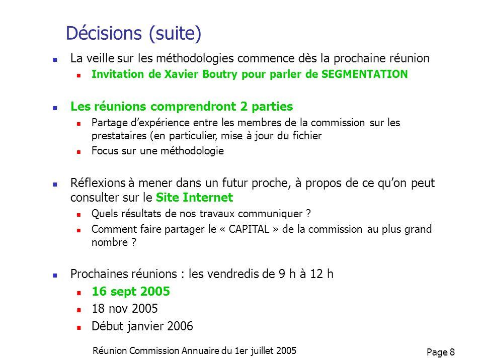 Page 8 Réunion Commission Annuaire du 1er juillet 2005 Décisions (suite) La veille sur les méthodologies commence dès la prochaine réunion Invitation