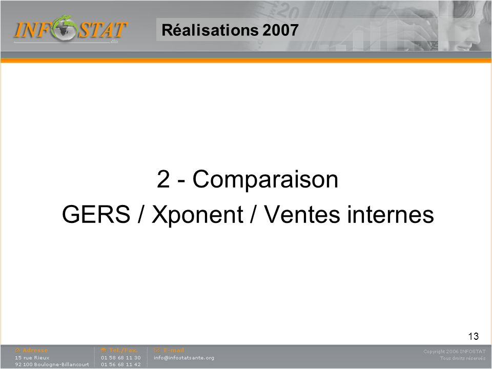 13 Réalisations 2007 2 - Comparaison GERS / Xponent / Ventes internes