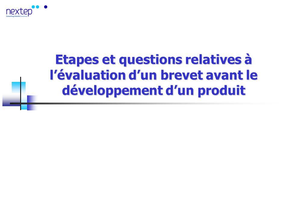 Etapes et questions relatives à lévaluation dun brevet avant le développement dun produit