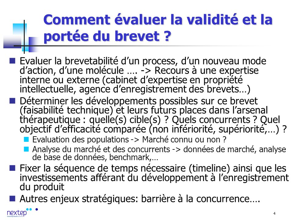 4 Comment évaluer la validité et la portée du brevet .