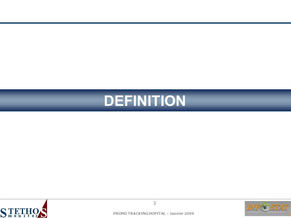 3 PROMO TRACKING HOPITAL – Janvier 2009 PROMO TRACKING PROCESSUS D ADOPTION DU PRODUIT Notoriété Top of mind Connaissance Perception des différences Essai Satisfaction Notoriété Top of mind Connaissance Perception des différences Essai Satisfaction PROMOTION COMPORTEMENT prescription / non prescription PROMO TRACKING : Suivi de la promotion = PRESSION PROMOTIONNELLE Suivi de la promotion = PRESSION PROMOTIONNELLE Suivi de l efficacité de la promotion = DYNAMIQUE DE LA MARQUE Suivi de l efficacité de la promotion = DYNAMIQUE DE LA MARQUE PROMO TRACKING : Suivi de la promotion = PRESSION PROMOTIONNELLE Suivi de la promotion = PRESSION PROMOTIONNELLE Suivi de l efficacité de la promotion = DYNAMIQUE DE LA MARQUE Suivi de l efficacité de la promotion = DYNAMIQUE DE LA MARQUE