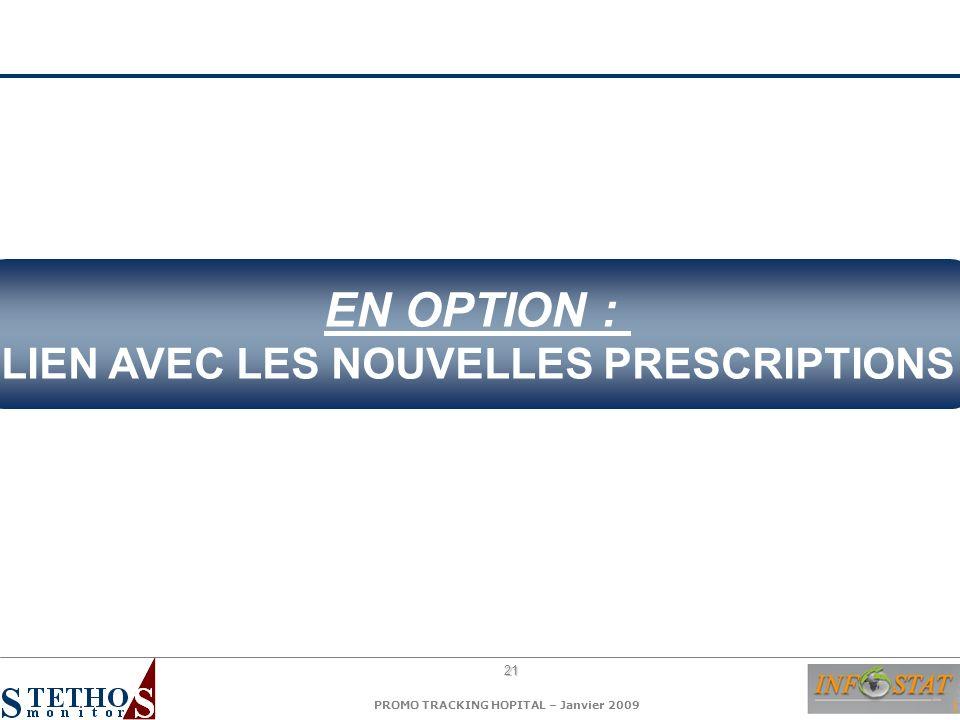 21 PROMO TRACKING HOPITAL – Janvier 2009 EN OPTION : LIEN AVEC LES NOUVELLES PRESCRIPTIONS