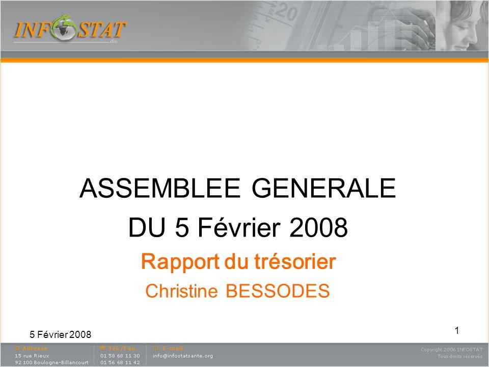 5 Février 2008 1 ASSEMBLEE GENERALE DU 5 Février 2008 Rapport du trésorier Christine BESSODES