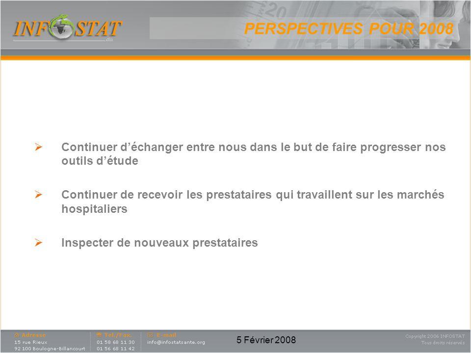 5 Février 2008 PERSPECTIVES POUR 2008 Continuer déchanger entre nous dans le but de faire progresser nos outils détude Continuer de recevoir les prestataires qui travaillent sur les marchés hospitaliers Inspecter de nouveaux prestataires