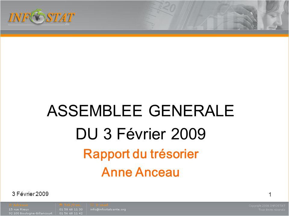 1 ASSEMBLEE GENERALE DU 3 Février 2009 Rapport du trésorier Anne Anceau 3 Février 2009