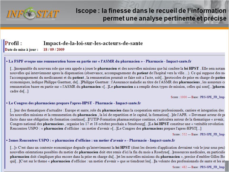 Iscope : la finesse dans le recueil de linformation permet une analyse pertinente et précise 17
