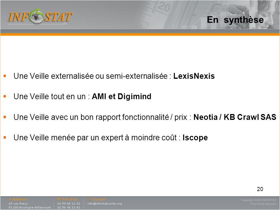 En synthèse Une Veille externalisée ou semi-externalisée : LexisNexis Une Veille tout en un : AMI et Digimind Une Veille avec un bon rapport fonctionn