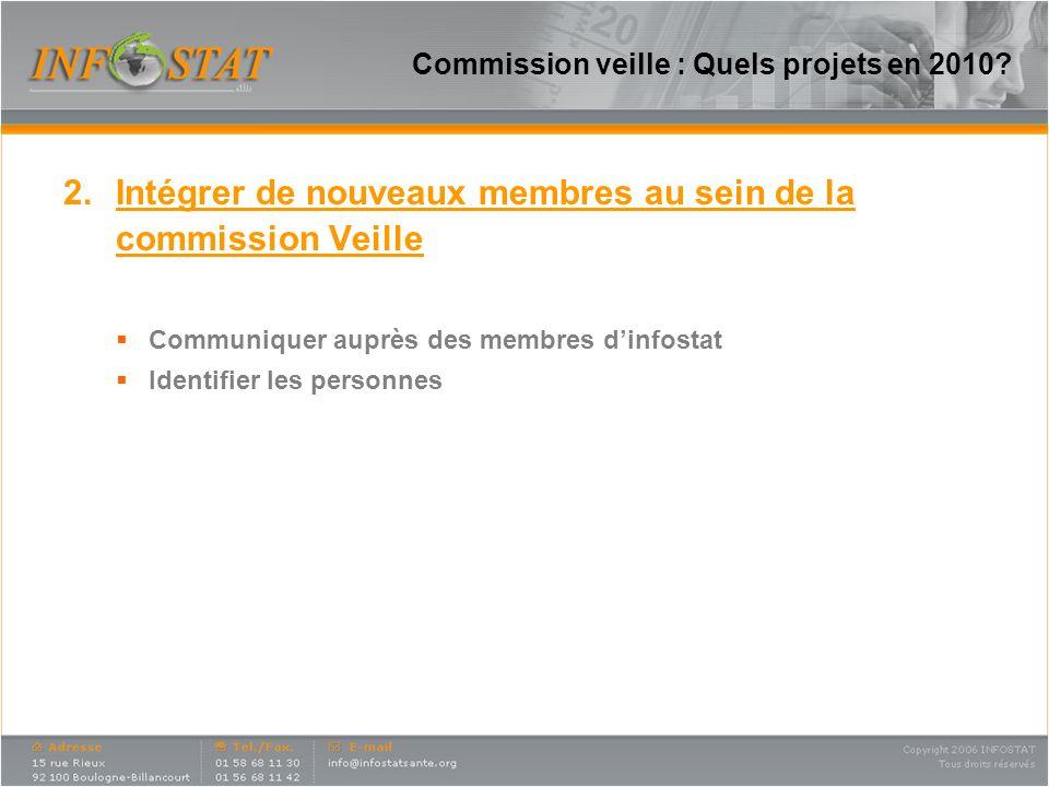 Commission veille : Quels projets en 2010? 2.Intégrer de nouveaux membres au sein de la commission Veille Communiquer auprès des membres dinfostat Ide