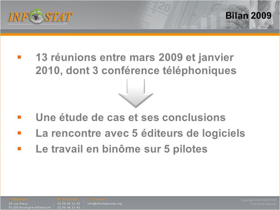 Bilan 2009 13 réunions entre mars 2009 et janvier 2010, dont 3 conférence téléphoniques Une étude de cas et ses conclusions La rencontre avec 5 éditeu