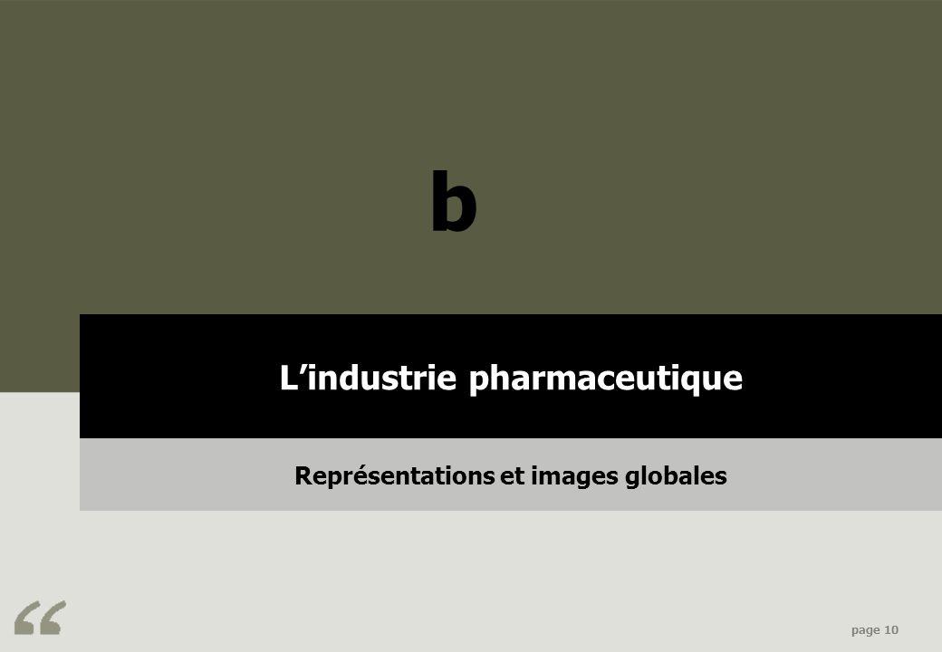 Contexte & objectifs page 10 Lindustrie pharmaceutique Représentations et images globales b