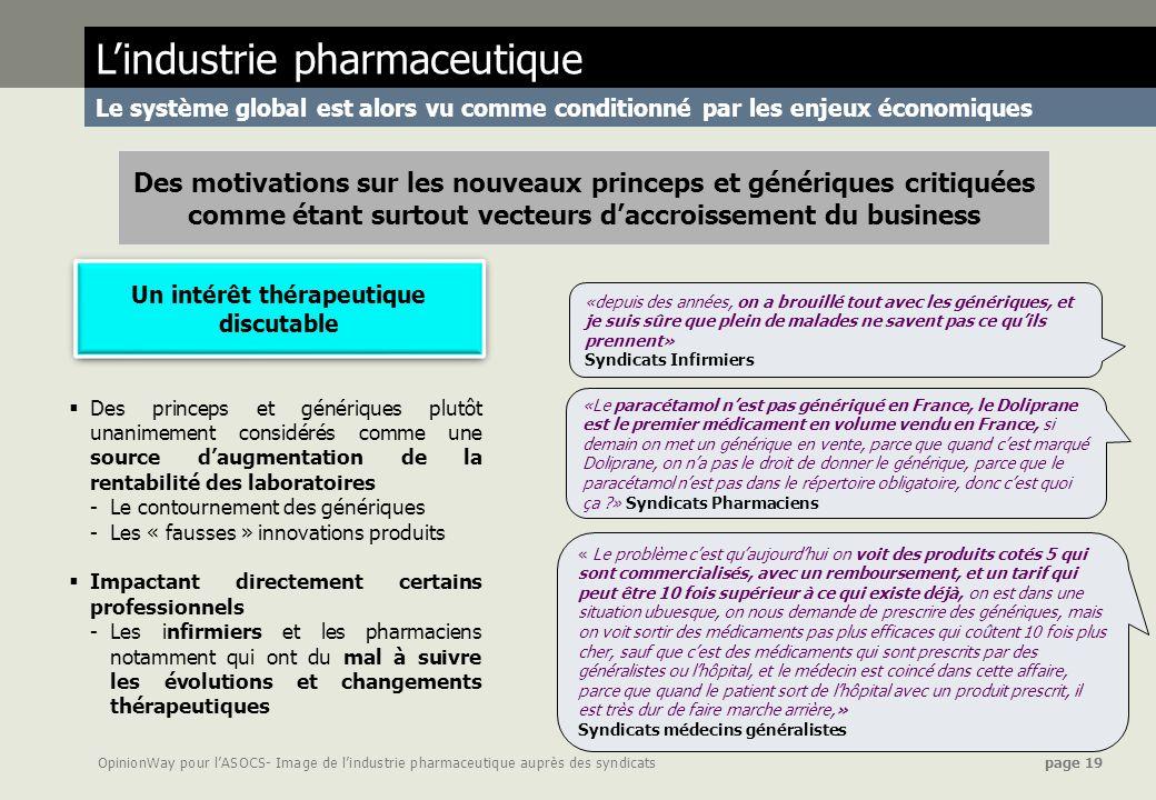 OpinionWay pour lASOCS- Image de lindustrie pharmaceutique auprès des syndicats page 19 Lindustrie pharmaceutique Le système global est alors vu comme