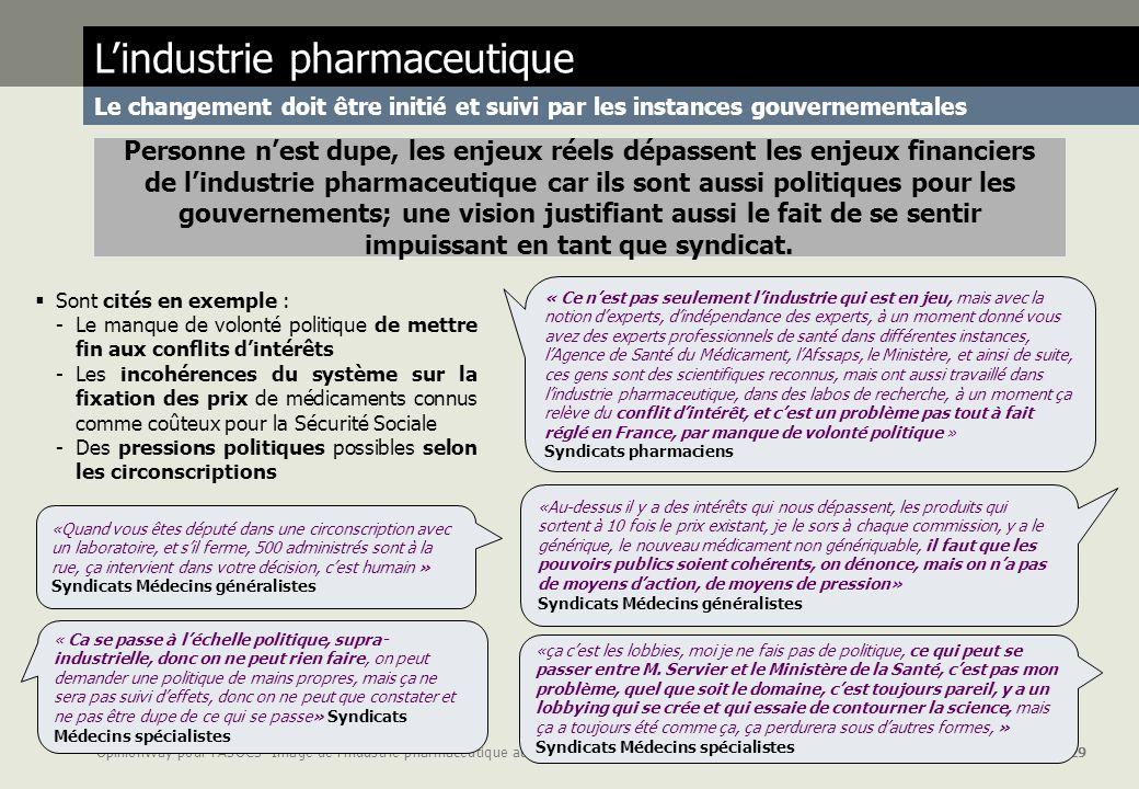 OpinionWay pour lASOCS- Image de lindustrie pharmaceutique auprès des syndicats page 29 Personne nest dupe, les enjeux réels dépassent les enjeux fina