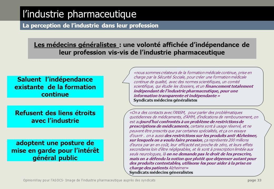 OpinionWay pour lASOCS- Image de lindustrie pharmaceutique auprès des syndicats page 33 «nous sommes créateurs de la formation médicale continue, pris