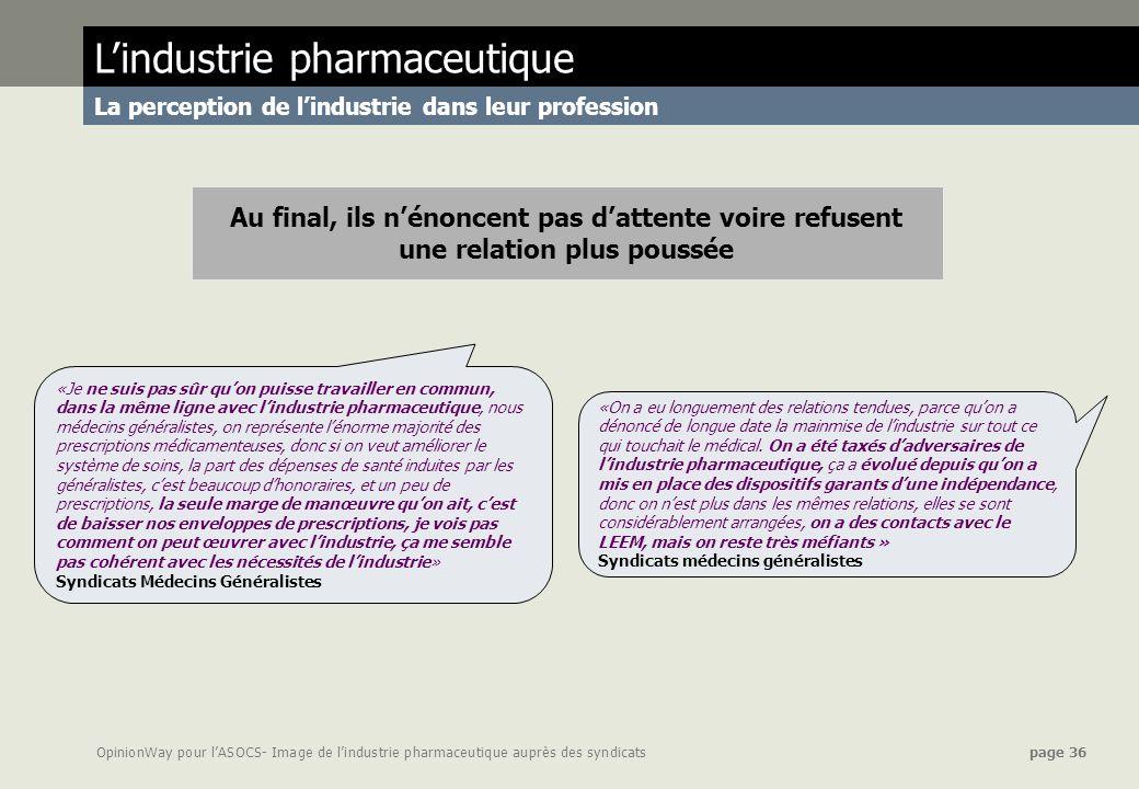OpinionWay pour lASOCS- Image de lindustrie pharmaceutique auprès des syndicats page 36 «On a eu longuement des relations tendues, parce quon a dénonc
