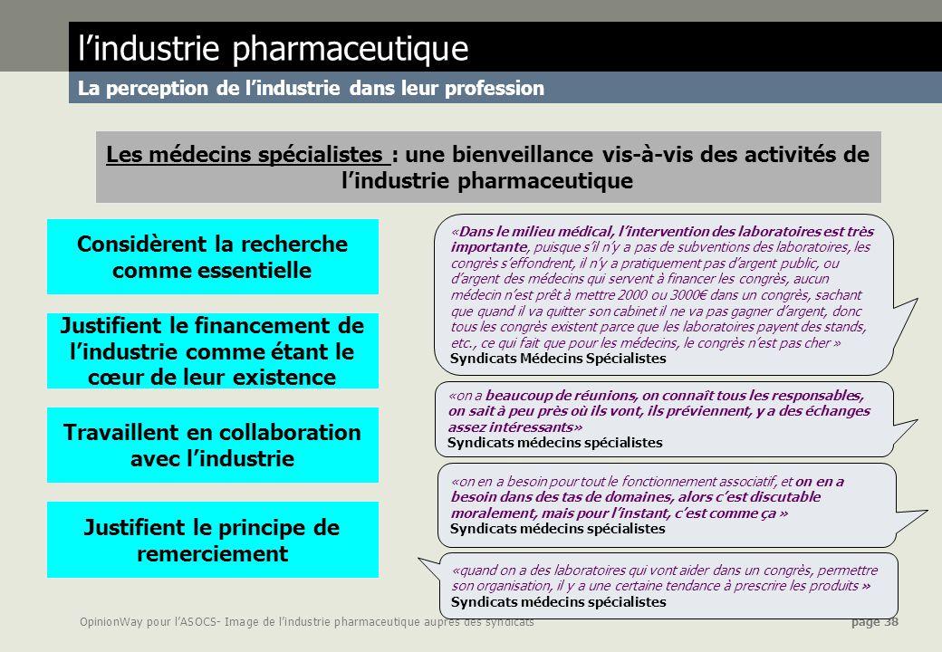 OpinionWay pour lASOCS- Image de lindustrie pharmaceutique auprès des syndicats page 38 «on en a besoin pour tout le fonctionnement associatif, et on