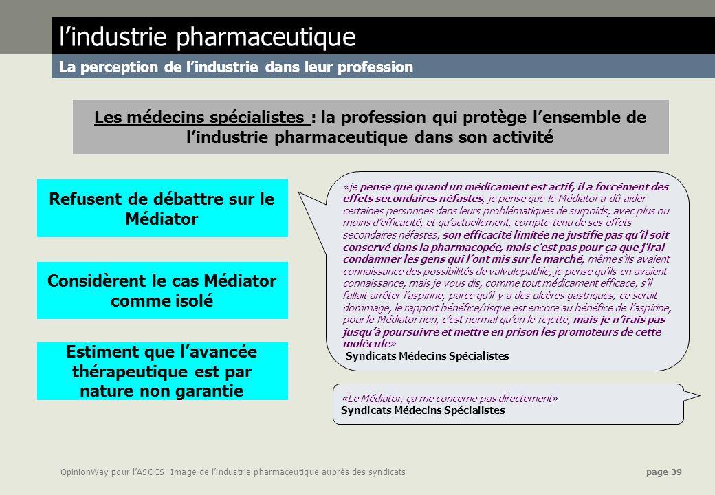 OpinionWay pour lASOCS- Image de lindustrie pharmaceutique auprès des syndicats page 39 lindustrie pharmaceutique La perception de lindustrie dans leu