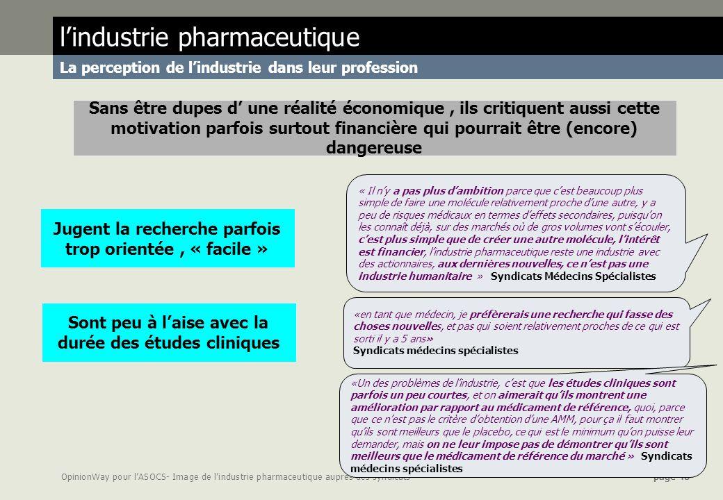 OpinionWay pour lASOCS- Image de lindustrie pharmaceutique auprès des syndicats page 40 lindustrie pharmaceutique La perception de lindustrie dans leu