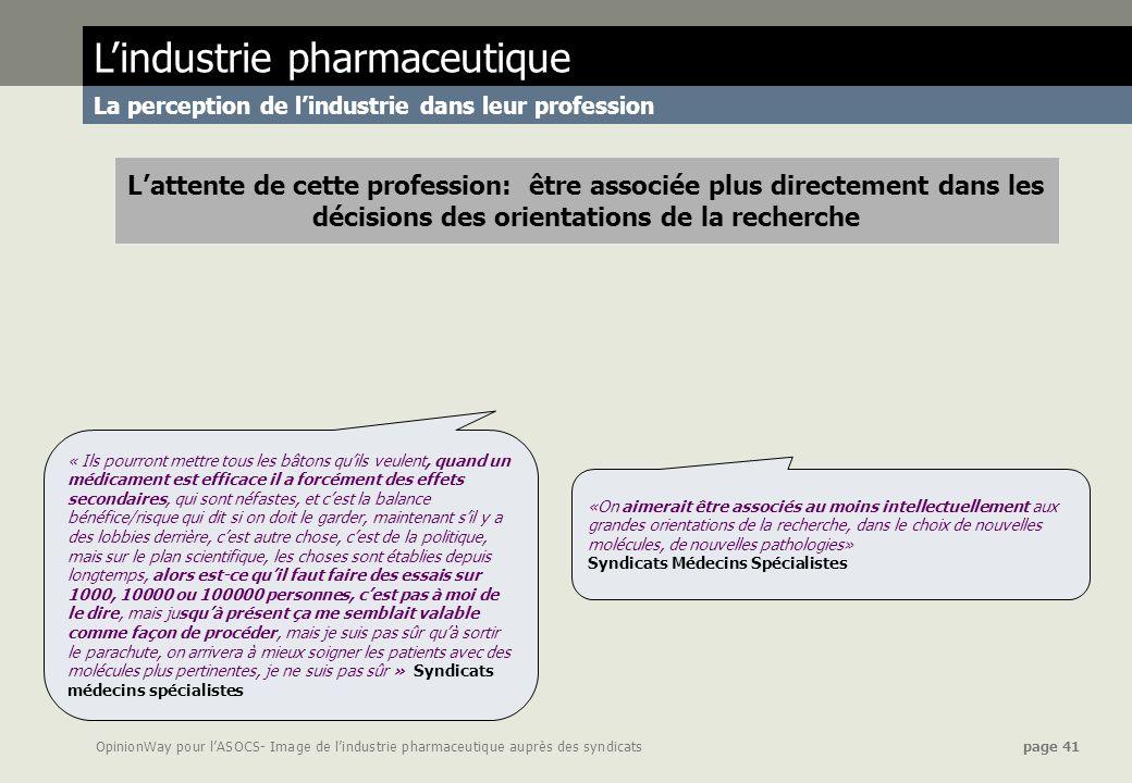 OpinionWay pour lASOCS- Image de lindustrie pharmaceutique auprès des syndicats page 41 Lindustrie pharmaceutique La perception de lindustrie dans leu