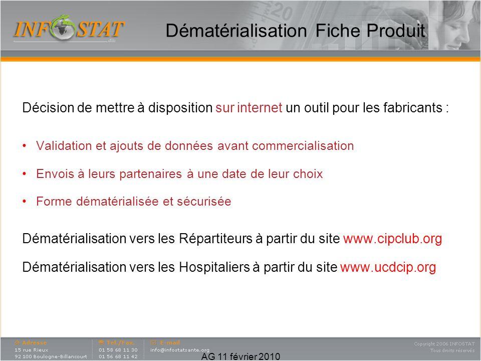Décision de mettre à disposition sur internet un outil pour les fabricants : Validation et ajouts de données avant commercialisation Envois à leurs pa