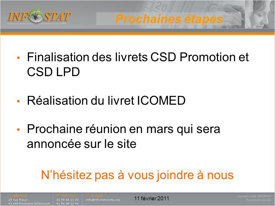 Prochaines étapes Finalisation des livrets CSD Promotion et CSD LPD Réalisation du livret ICOMED Prochaine réunion en mars qui sera annoncée sur le si