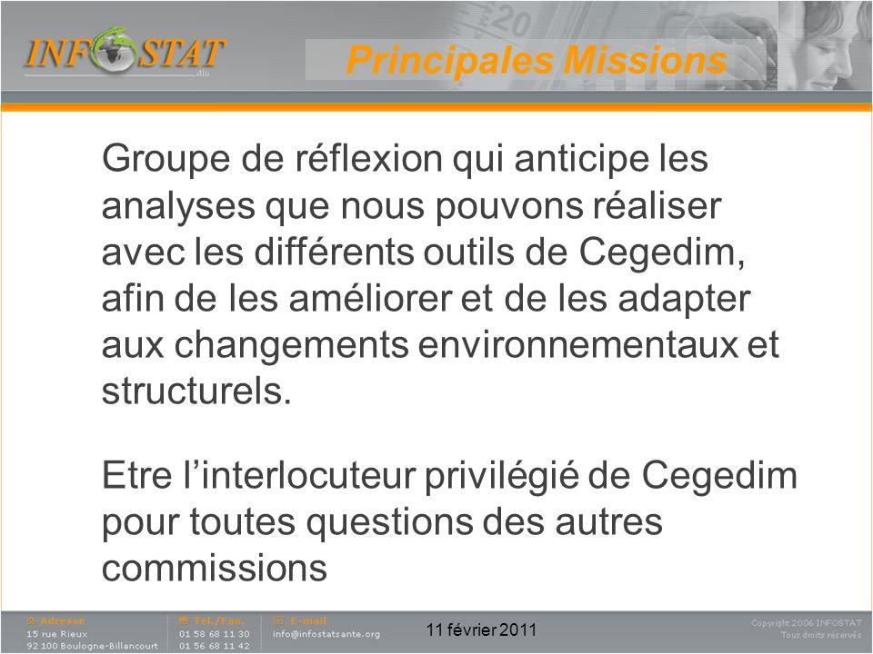 11 février 2011 Principales Missions Groupe de réflexion qui anticipe les analyses que nous pouvons réaliser avec les différents outils de Cegedim, af