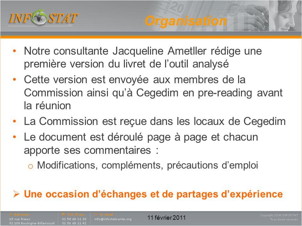 Organisation Notre consultante Jacqueline Ametller rédige une première version du livret de loutil analysé Cette version est envoyée aux membres de la