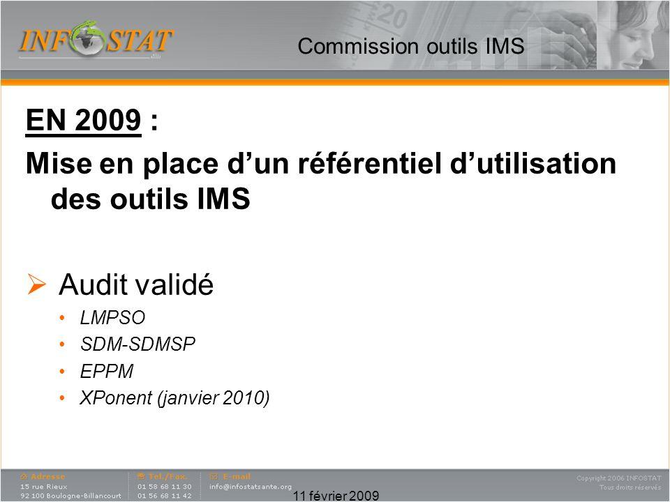 Commission outils IMS EN 2009 : Mise en place dun référentiel dutilisation des outils IMS Audit validé LMPSO SDM-SDMSP EPPM XPonent (janvier 2010) 11