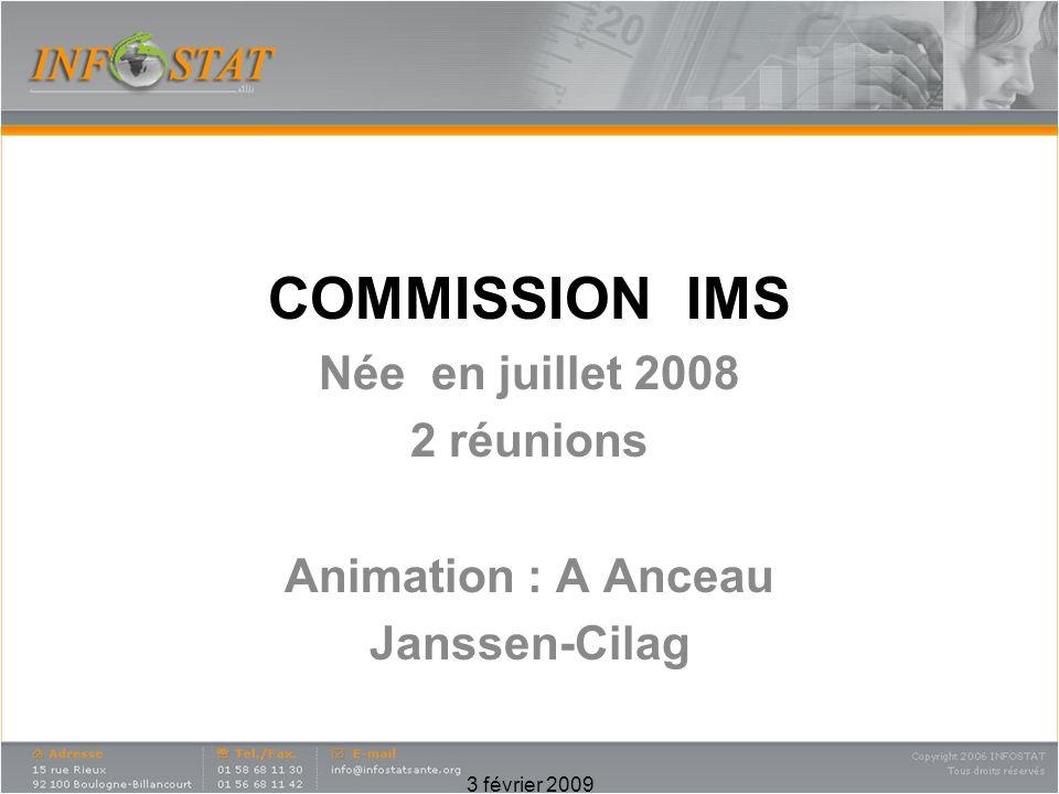 3 février 2009 COMMISSION IMS Née en juillet 2008 2 réunions Animation : A Anceau Janssen-Cilag