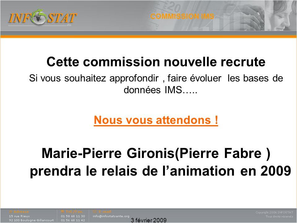 3 février 2009 COMMISSION IMS Cette commission nouvelle recrute Si vous souhaitez approfondir, faire évoluer les bases de données IMS…..
