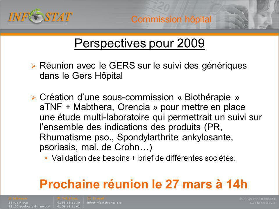 Perspectives pour 2009 Réunion avec le GERS sur le suivi des génériques dans le Gers Hôpital Création dune sous-commission « Biothérapie » aTNF + Mabt