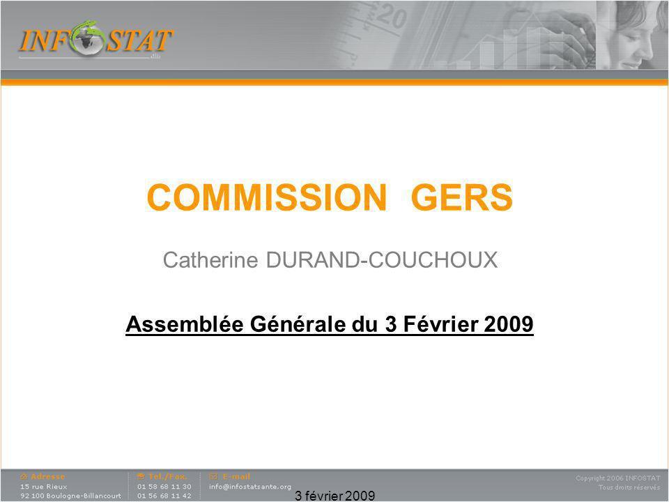 3 février 2009 COMMISSION GERS Catherine DURAND-COUCHOUX Assemblée Générale du 3 Février 2009