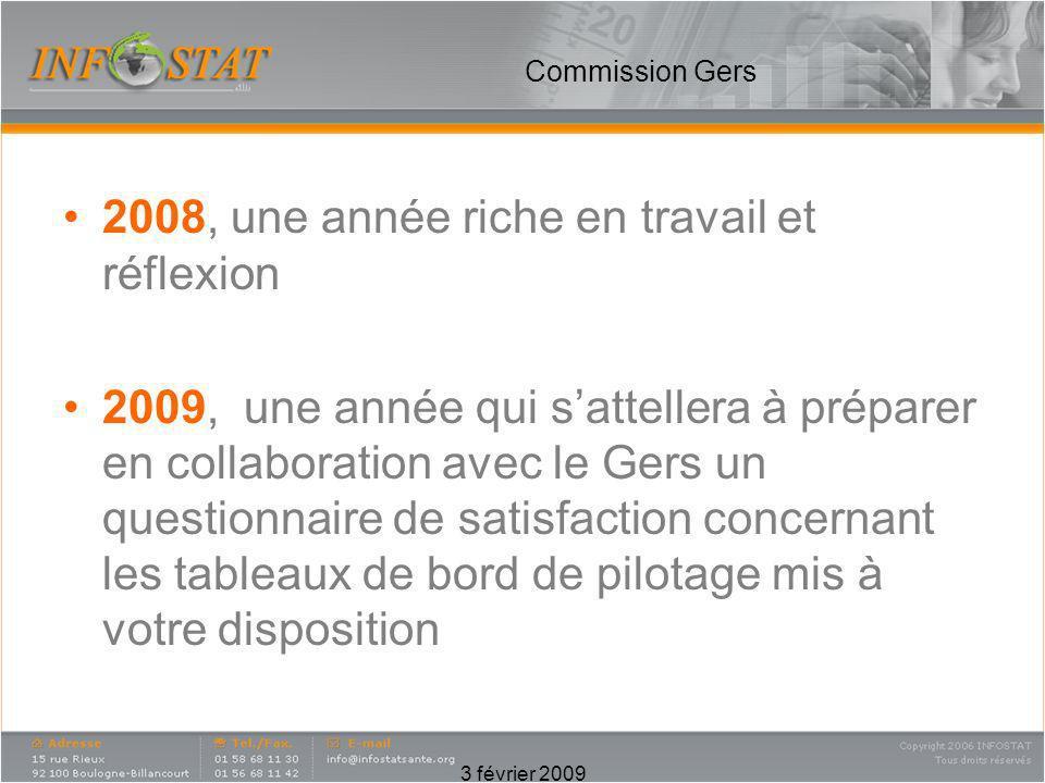 3 février 2009 Commission Gers 2008, une année riche en travail et réflexion 2009, une année qui sattellera à préparer en collaboration avec le Gers u