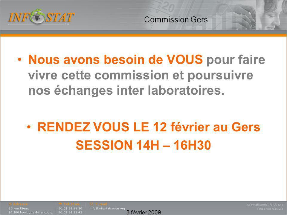 3 février 2009 Commission Gers Nous avons besoin de VOUS pour faire vivre cette commission et poursuivre nos échanges inter laboratoires. RENDEZ VOUS