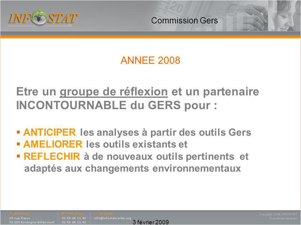 3 février 2009 Commission Gers ANNEE 2008 Etre un groupe de réflexion et un partenaire INCONTOURNABLE du GERS pour : ANTICIPER les analyses à partir d