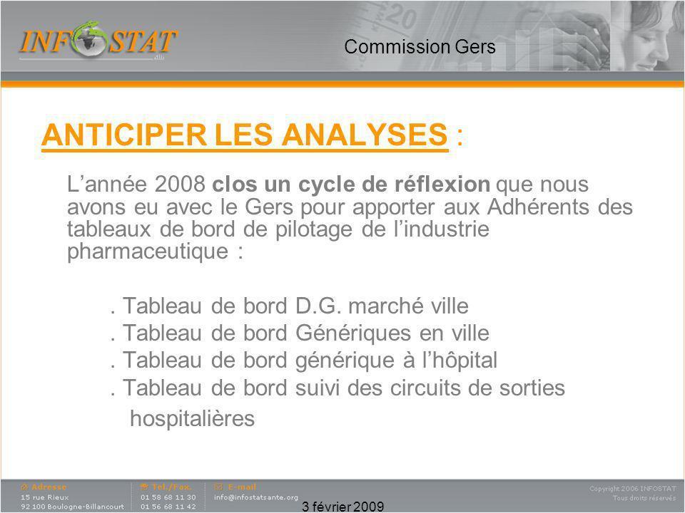 3 février 2009 Commission Gers ANTICIPER LES ANALYSES : Lannée 2008 clos un cycle de réflexion que nous avons eu avec le Gers pour apporter aux Adhére
