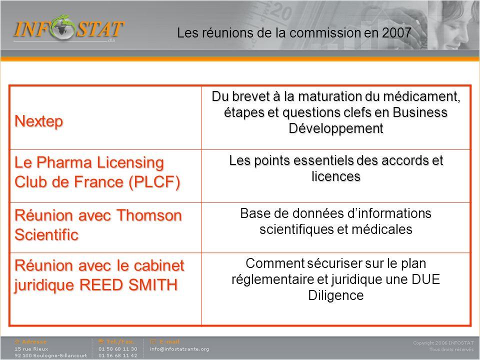 Les réunions de la commission en 2007 Nextep Du brevet à la maturation du médicament, étapes et questions clefs en Business Développement Le Pharma Li
