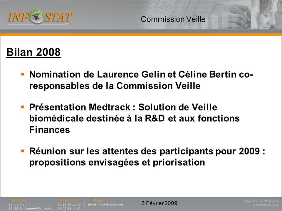 3 Février 2009 Commission Veille Bilan 2008 Nomination de Laurence Gelin et Céline Bertin co- responsables de la Commission Veille Présentation Medtra