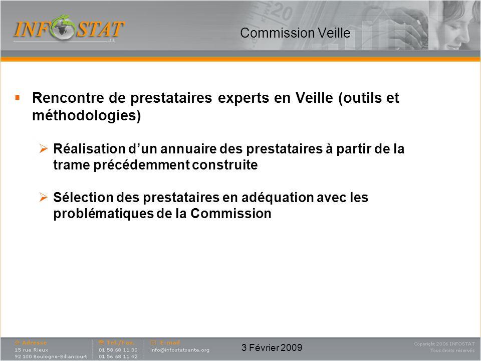 3 Février 2009 Commission Veille Rencontre de prestataires experts en Veille (outils et méthodologies) Réalisation dun annuaire des prestataires à par