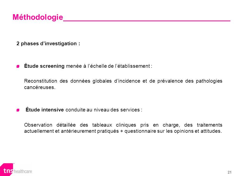 21 2 phases dinvestigation : Étude screening menée à léchelle de létablissement : Reconstitution des données globales dincidence et de prévalence des pathologies cancéreuses.